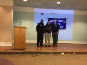 Officer Hudson with Asst. Chief Greg Burton & Past President, Ray Turner